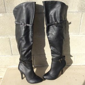 Sexy Vegan Leather High Heel Over The Knee Boot